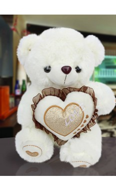 Soft White Teddy Bear With Heart