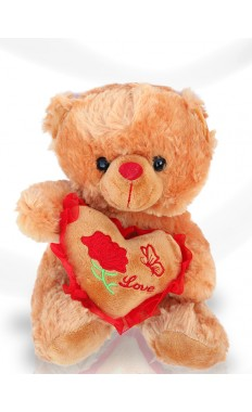 Brown Red Heart Teddy
