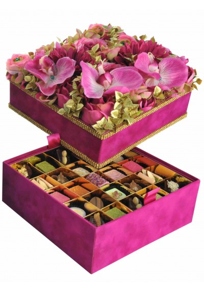 Square Velvet Box Decorated w Gold Swarovski- Flower Top Fuschia 50 Pieces Assorted Arabic Sweets
