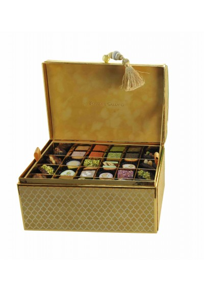 Chest Velvet Box in Safran 72 Pieces of Assorted  Arabic Sweets
