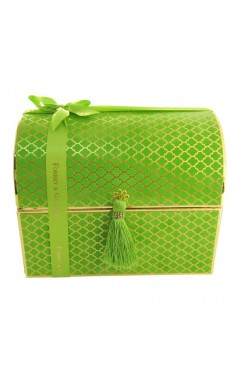 Forrey and Galland Velvet Chest box in lime, 2 layers: 24 pieces of assorted chocolate