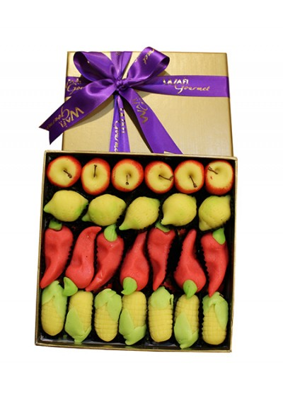 Assorted marzipan Fruit Luxury Gift Box Medium By Wafi Gourmet