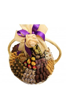 Assorted Sweets Round Basket by Wafi Gourmet